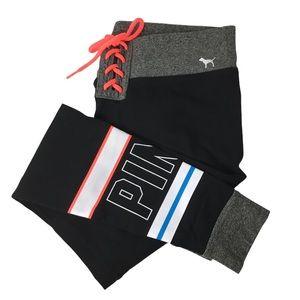 Pink VICTORIA'S SECRET Yoga Leggings Logo Stripe